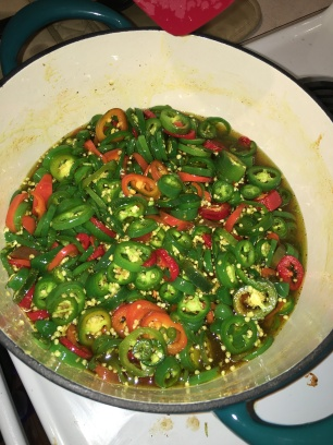 3lbs of sliced jalapeños in syrup ready for Cowboy Candy