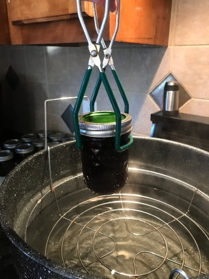 Removing Blueberry Butter from water bath