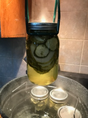 Removing Easy Bread & Butter Pickles from water bath