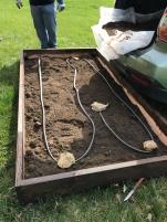 Soaker hose installed when half filled