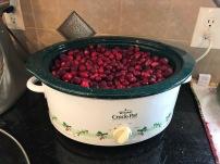 Crockpot full of cranberries