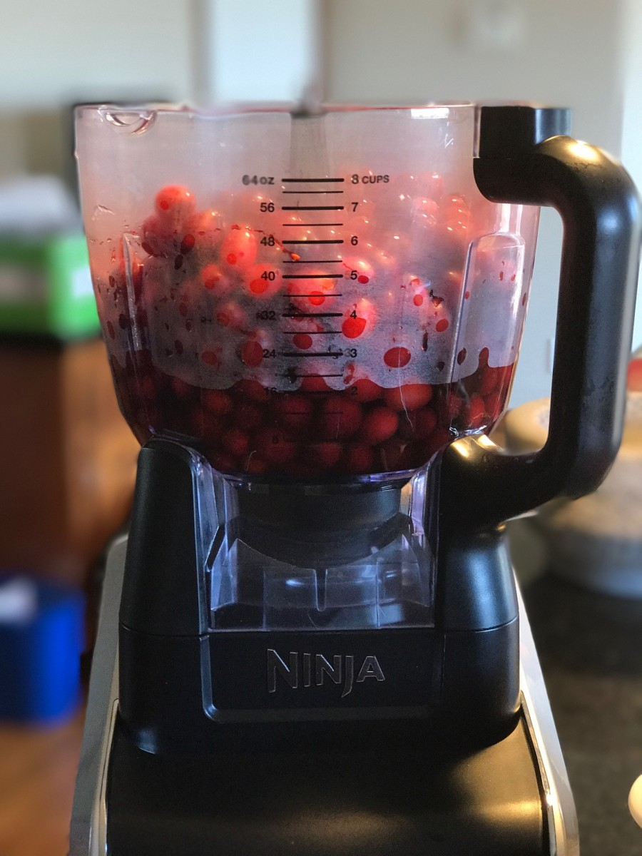 Cranberries in the food processor