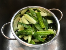 Drained cucumbers